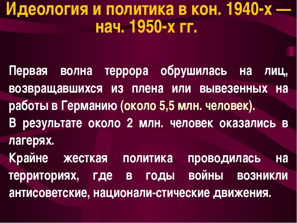 Идеология и политика в кон. 1940-х — нач. 1950-х гг. Первая волна террора обр...