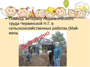Помощь ветерану педагогического труда Червинской Н.Г. в сельскохозяйственных