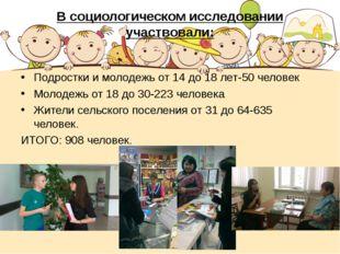 В социологическом исследовании участвовали: Подростки и молодежь от 14 до 18