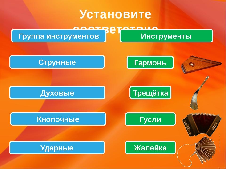 Установите соответствие Группа инструментов Струнные Духовые Ударные Кнопочны...