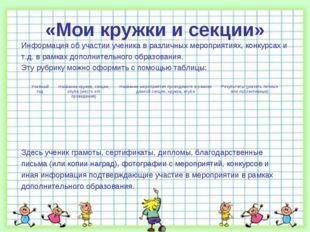 «Мои кружки и секции» Информация об участии ученика в различных мероприятиях,