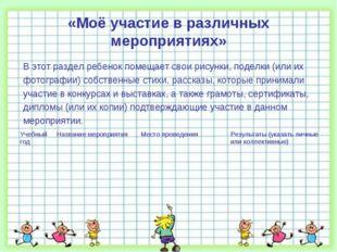 «Моё участие в различных мероприятиях» В этот раздел ребенок помещает свои ри