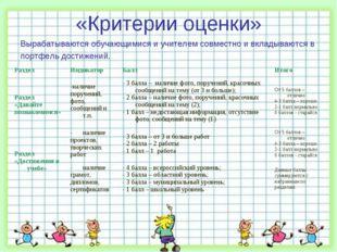 «Критерии оценки» Вырабатываются обучающимися и учителем совместно и вкладыва