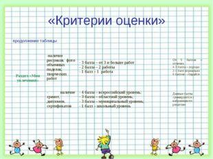 «Критерии оценки» продолжение таблицы Раздел «Мои увлечения»-наличие рисунко
