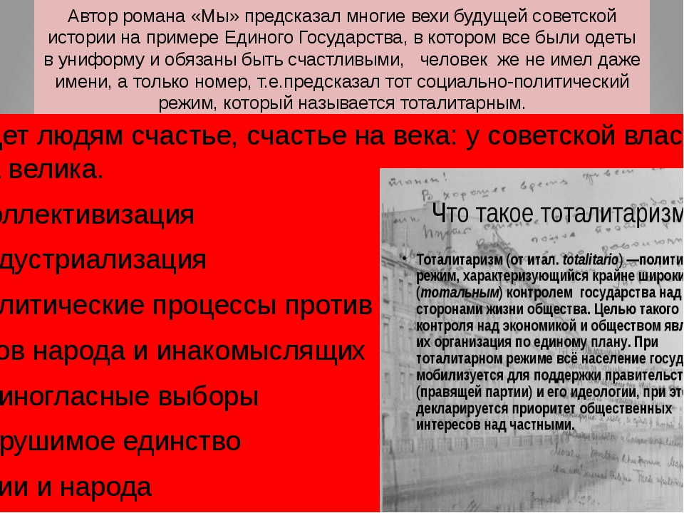 Автор романа «Мы» предсказал многие вехи будущей советской истории на примере...
