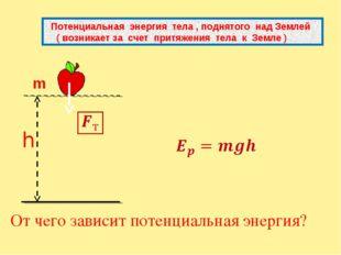 От чего зависит потенциальная энергия? Потенциальная энергия тела , поднятог