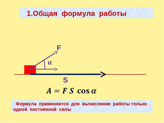 1.Общая формула работы F α S Формула применяется для вычисления работы тольк...