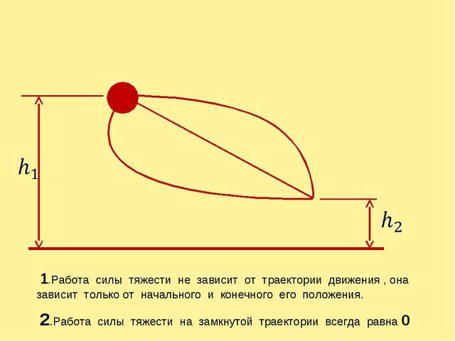 1.Работа силы тяжести не зависит от траектории движения , она зависит только...