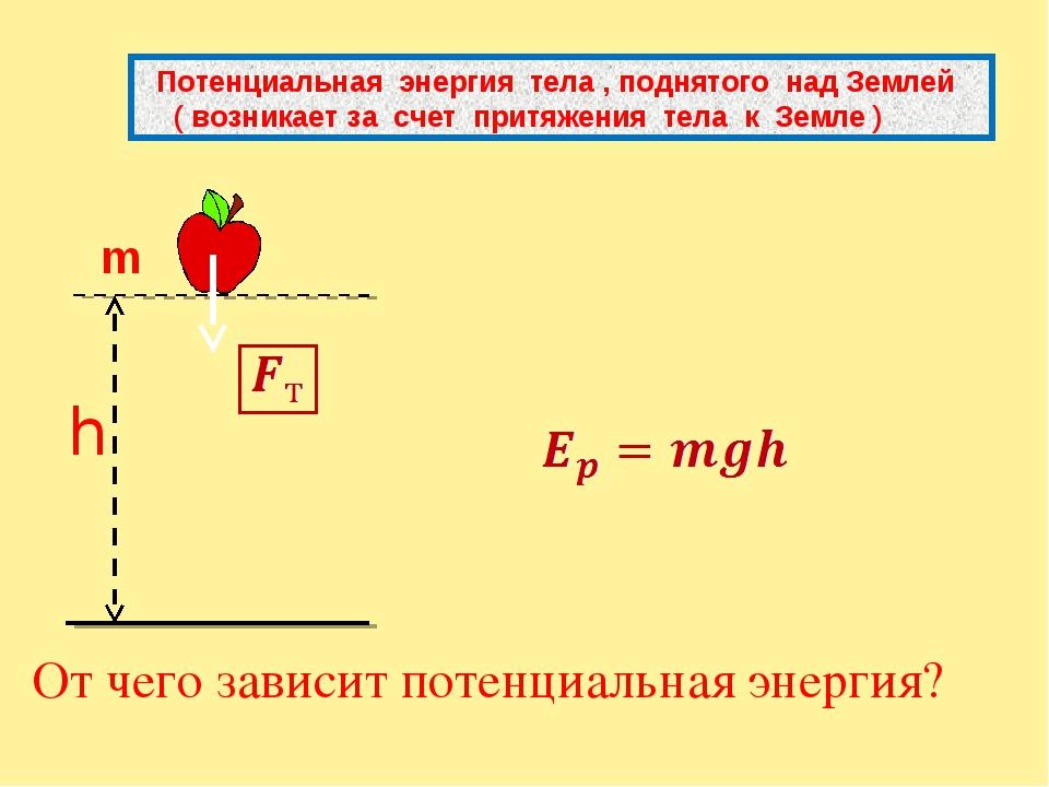 От чего зависит потенциальная энергия? Потенциальная энергия тела , поднятог...