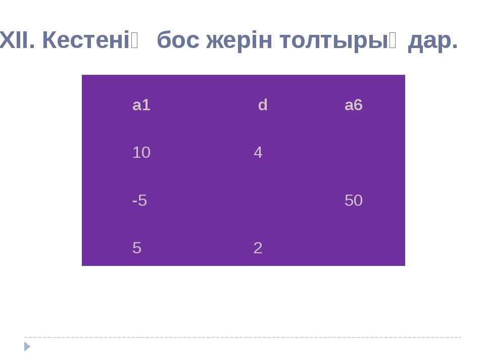 ХІІ. Кестенің бос жерін толтырыңдар. а1 d а6 10 4 -5 50 5 2