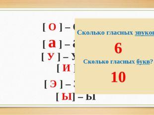 [ О ] – О или ё [ а ] – а или Я [ У ] – У или Ю [ И ] – И [ Э ] – Э или е [