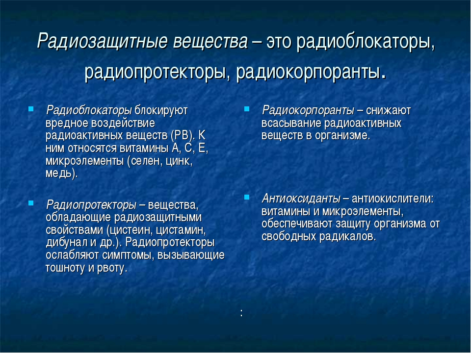 Радиозащитные вещества – это радиоблокаторы, радиопротекторы, радиокорпоранты...