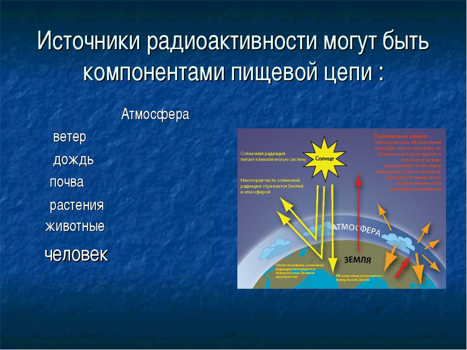 Источники радиоактивности могут быть компонентами пищевой цепи : Атмосфера ве...
