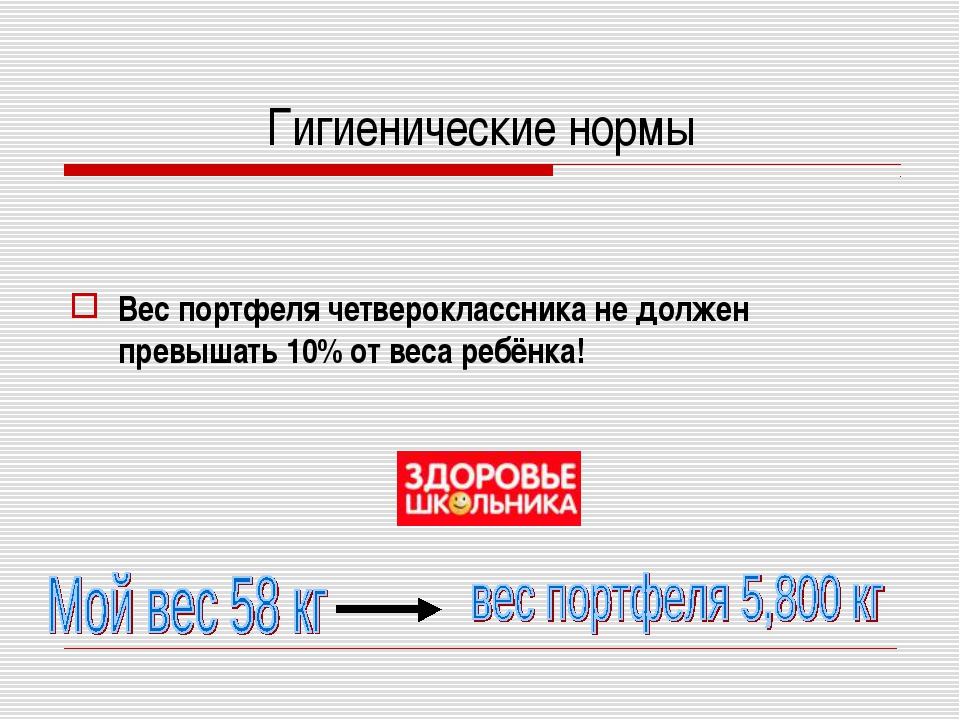 Гигиенические нормы Вес портфеля четвероклассника не должен превышать 10% от...