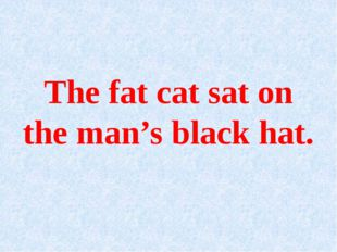 The fat cat sat on the man's black hat.