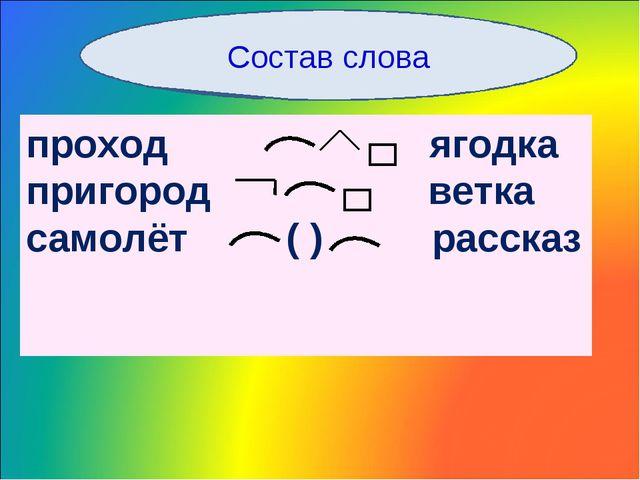 Состав слова проход ягодка пригород ветка самолёт ( ) рассказ