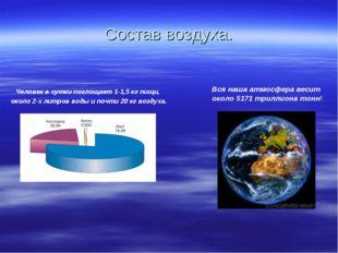 Состав воздуха. Вся наша атмосфера весит около 5171 триллиона тонн! Человек в