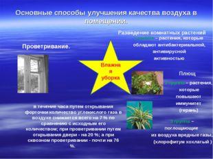 Основные способы улучшения качества воздуха в помещении. Проветривание. Влажн
