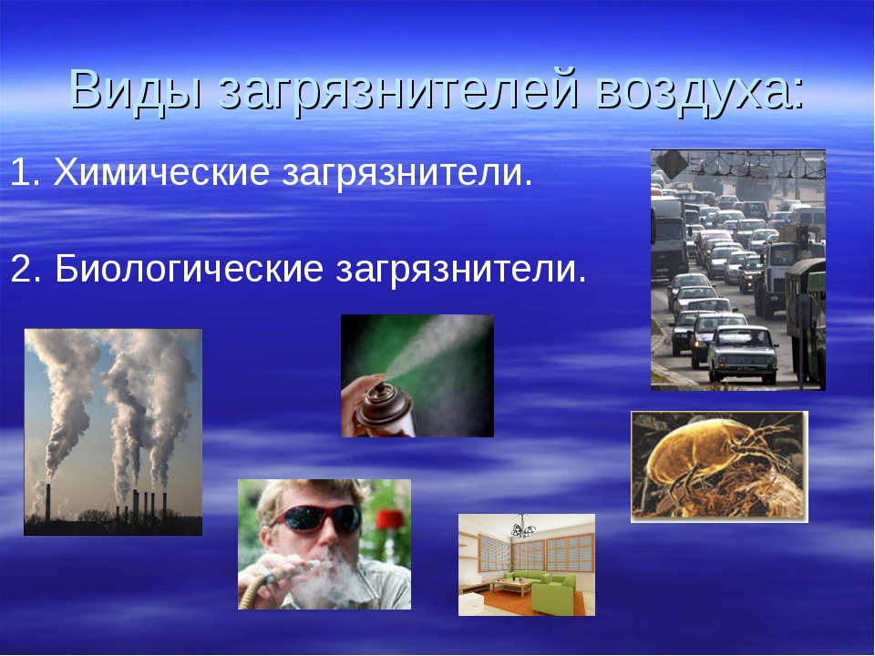 Виды загрязнителей воздуха: 1. Химические загрязнители. 2. Биологические загр...
