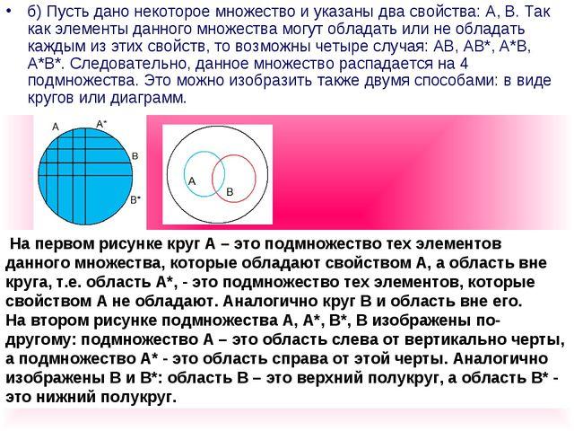 б) Пусть дано некоторое множество и указаны два свойства: А, В. Так как элеме...