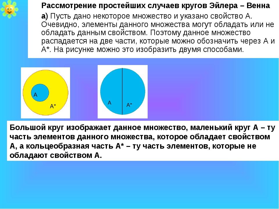 Рассмотрение простейших случаев кругов Эйлера – Венна а) Пусть дано некоторо...