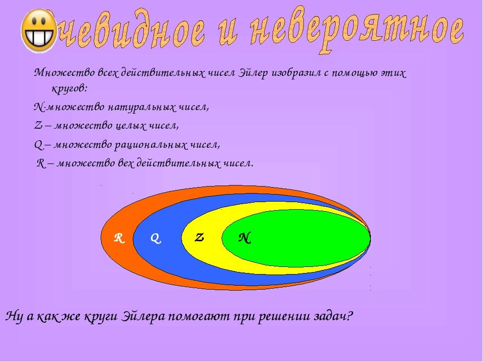 Множество всех действительных чисел Эйлер изобразил с помощью этих кругов: N-...