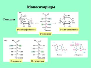 Моносахариды Гексозы D-глюкофураноза D-глюкоза D-глюкопираноза D-манноза D-га
