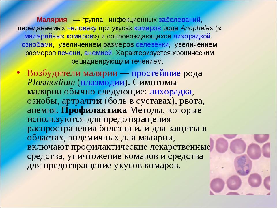 Малярия — группа инфекционных заболеваний, передаваемых человеку при укусах...