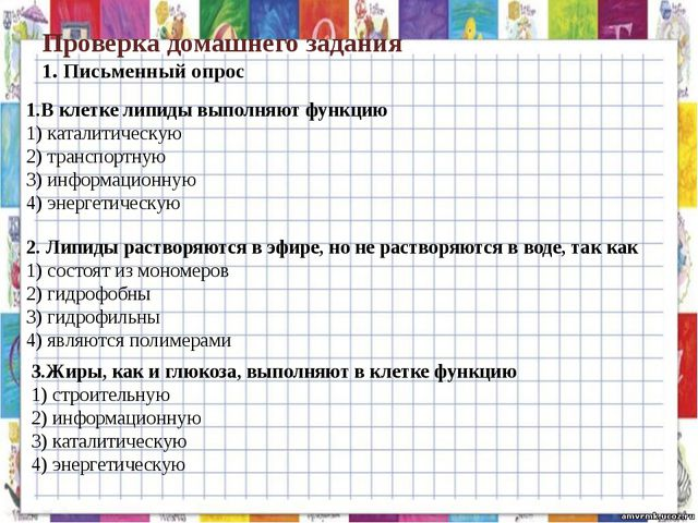 Проверка домашнего задания 1. Письменный опрос 1.В клетке липиды выполняют фу...