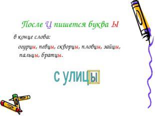 После Ц пишется буква Ы в конце слова: огурцы, певцы, скворцы, пловцы, зайцы,