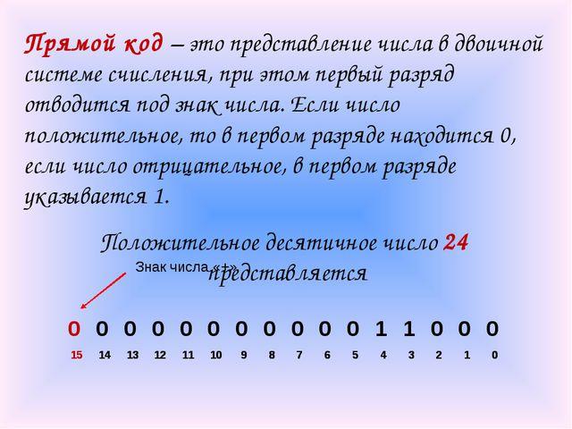Прямой код – это представление числа в двоичной системе счисления, при этом п...