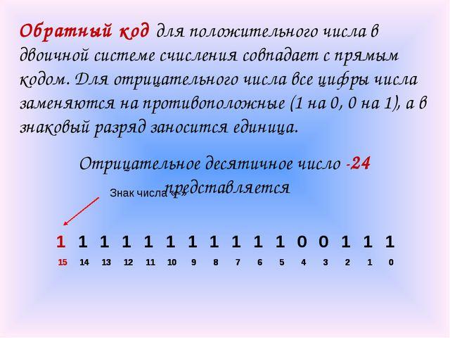Обратный код для положительного числа в двоичной системе счисления совпадает...