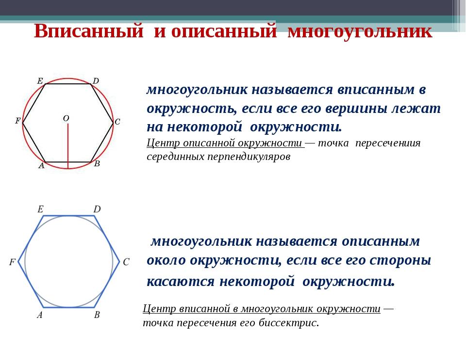 Вписанный и описанный многоугольник многоугольник называется вписанным в окру...