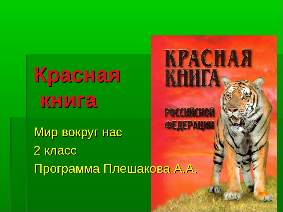 Красная книга Мир вокруг нас 2 класс Программа Плешакова А.А.