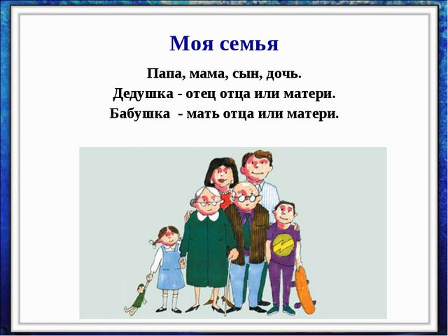 Моя семья Папа, мама, сын, дочь. Дедушка - отец отца или матери. Бабушка - ма...