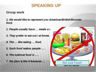 SPEAKING UP Group work 1. We would like to represent you American/British/Rus