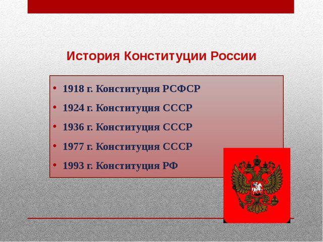 История Конституции России 1918 г. Конституция РСФСР 1924 г. Конституция СС...