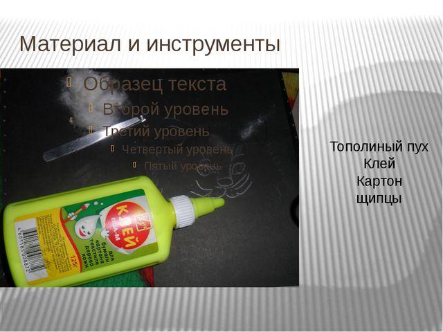 Материал и инструменты Тополиный пух Клей Картон щипцы