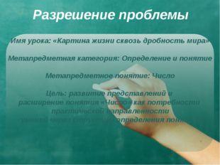 Разрешение проблемы Имя урока: «Картина жизни сквозь дробность мира» Метапред