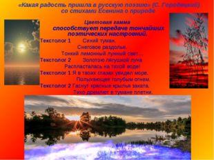 «Какая радость пришла в русскую поэзию» (С. Городецкий) со стихами Есенина о