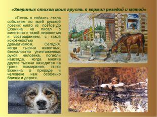 «Звериных стихов моих грусть я кормил резедой и мятой» «Песнь о собаке» стала