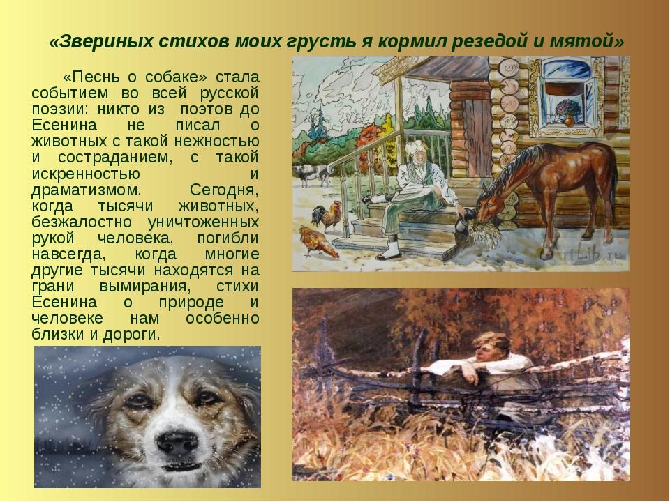 «Звериных стихов моих грусть я кормил резедой и мятой» «Песнь о собаке» стала...