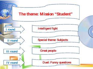 "The theme The theme: Mission ""Student"" IIIIIII I round II round IV round III"