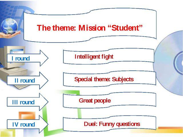 "The theme The theme: Mission ""Student"" IIIIIII I round II round IV round III..."