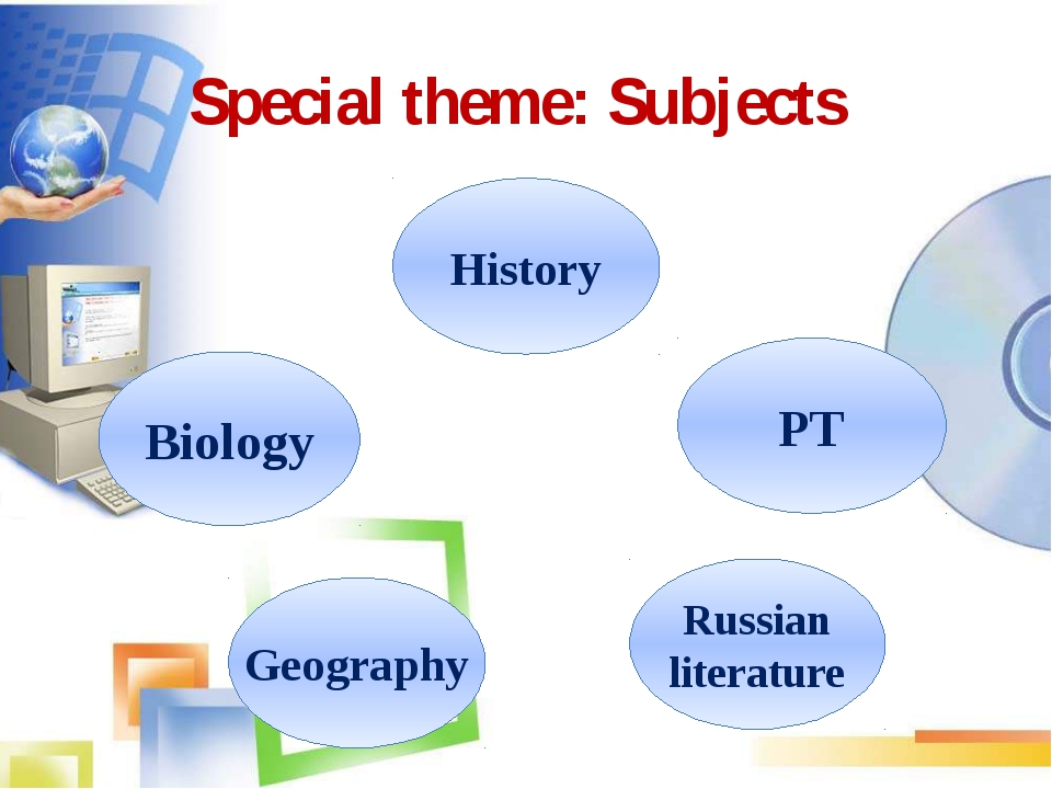 Russian literature Biology Geography History PT Special theme: Subjects