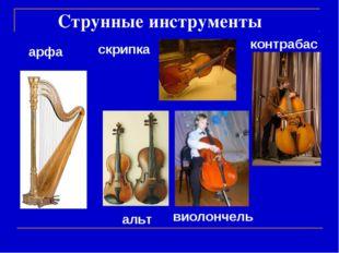 Струнные инструменты контрабас альт виолончель скрипка арфа
