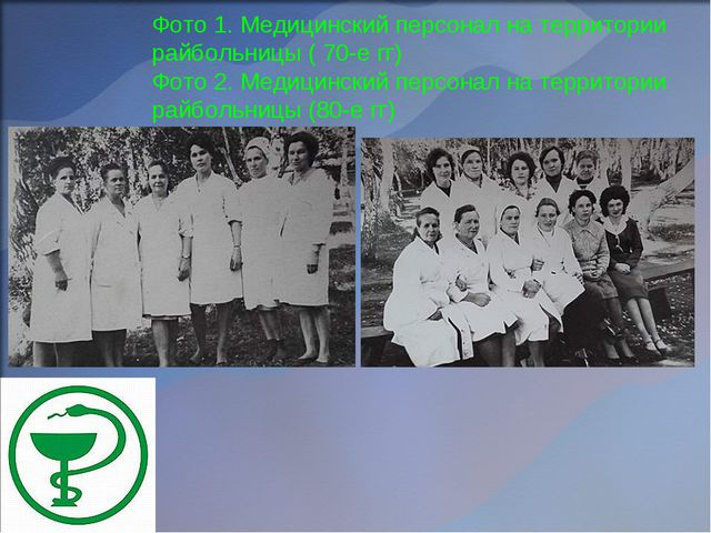Фото 1. Медицинский персонал на территории райбольницы ( 70-е гг) Фото 2. Мед...