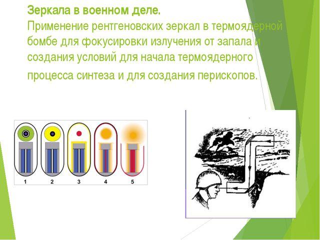Зеркала в военном деле. Применение рентгеновских зеркал в термоядерной бомбе...