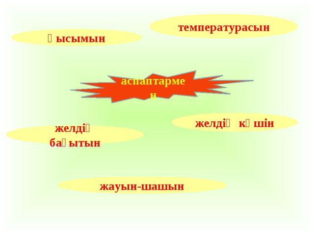 температурасын қысымын желдің күшін желдің бағытын жауын-шашын аспаптармен