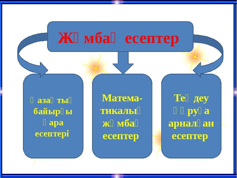 Жұмбақ есептер Қазақтың байырғы қара есептері Матема-тикалық жұмбақ есептер...